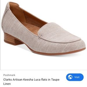 Clarks Kesha Luca Loafers (Taupe Linen) • Size 7